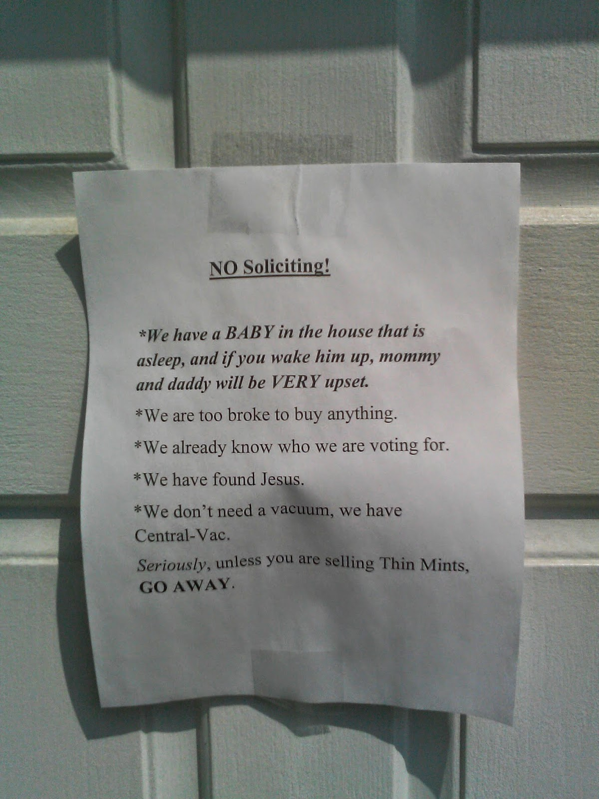 This family is too broke to buy anything except thin mints - Funny soliciting signs ...