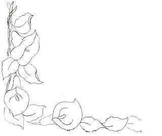 Risco de flor copo de leite para pintura em tecidos