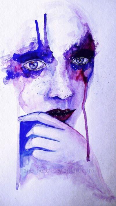 Jana Lepejova jane-beata deviantart pinturas aquarela mulheres olhares femininos Carnaval