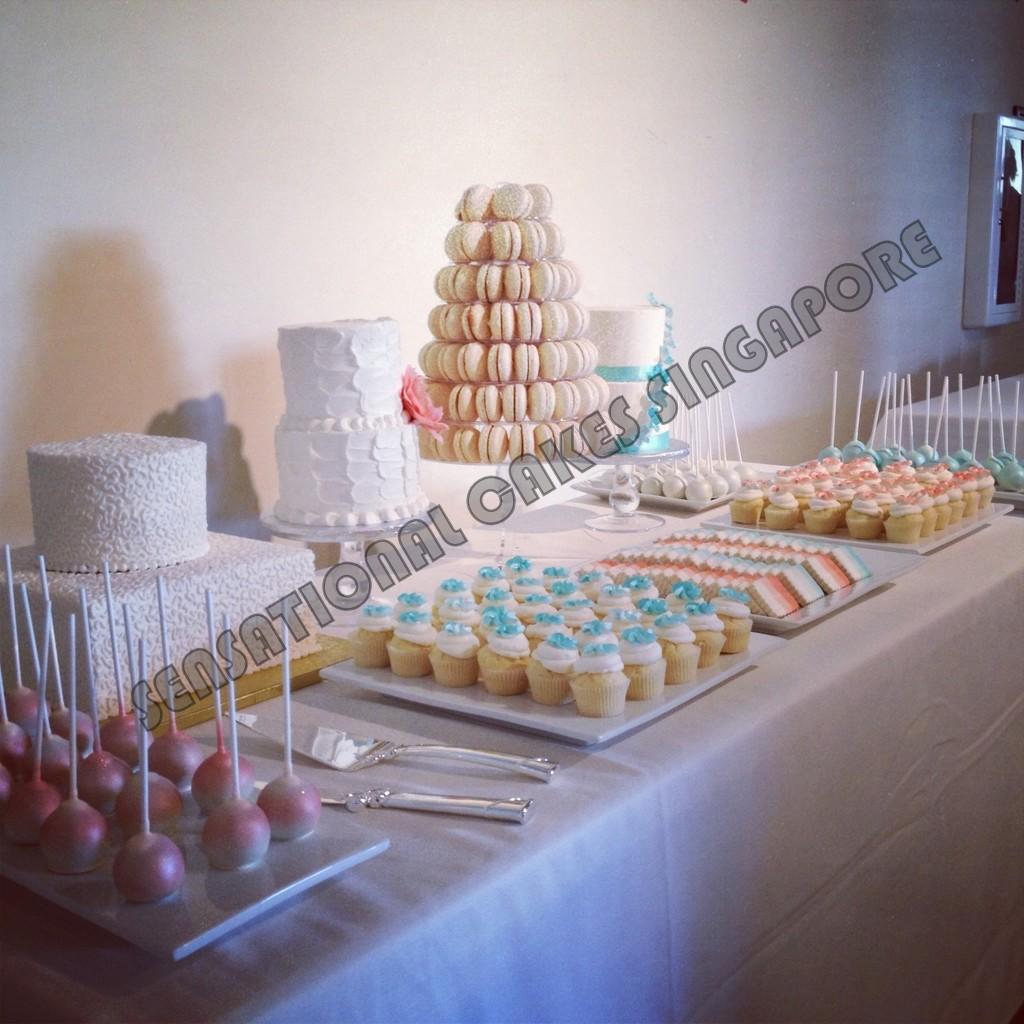 Wedding corporate cake macaron tower croquembouche for Table 52 dessert