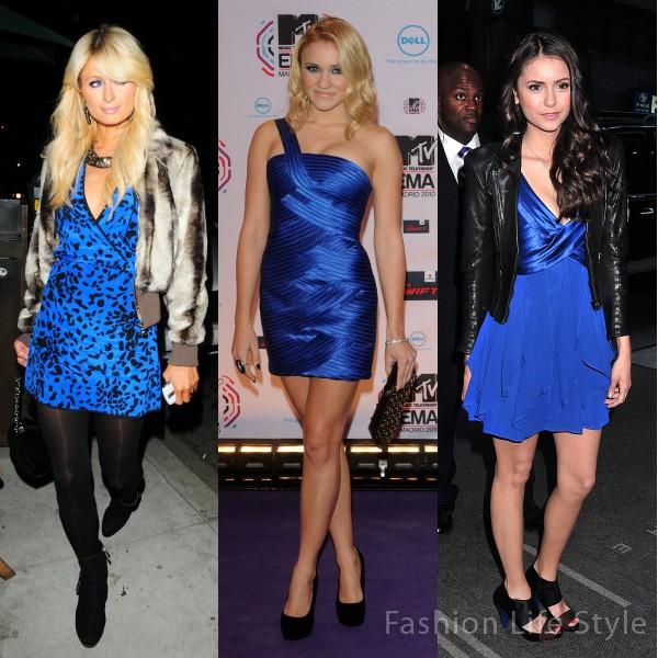Cobalt blue and black dress