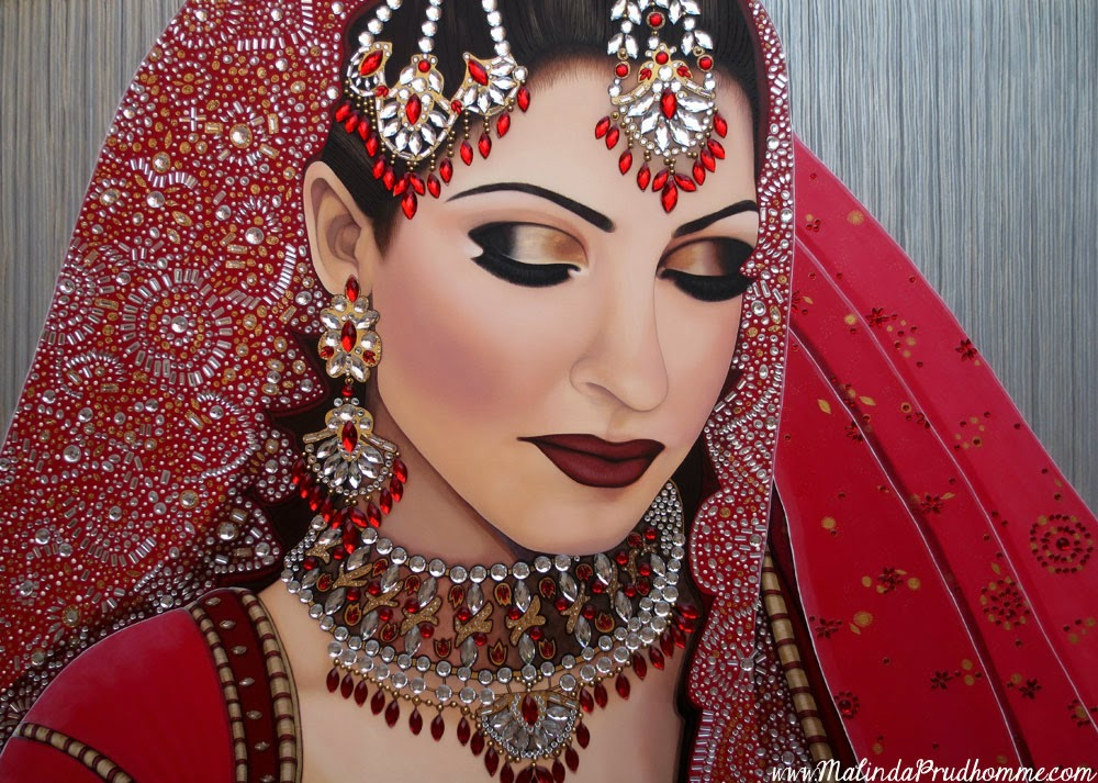 preeti ruby indian bride, indian bride portrait painting, gems on painting, toronto portrait artist, acrylic painting, full time artist, canadian artist