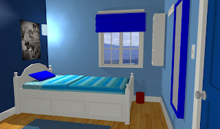 kontentika desain kamar dengan biru kombinasi