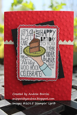 Birthday card made with Woo Hoo! stamp and polka dot-embossed card base.
