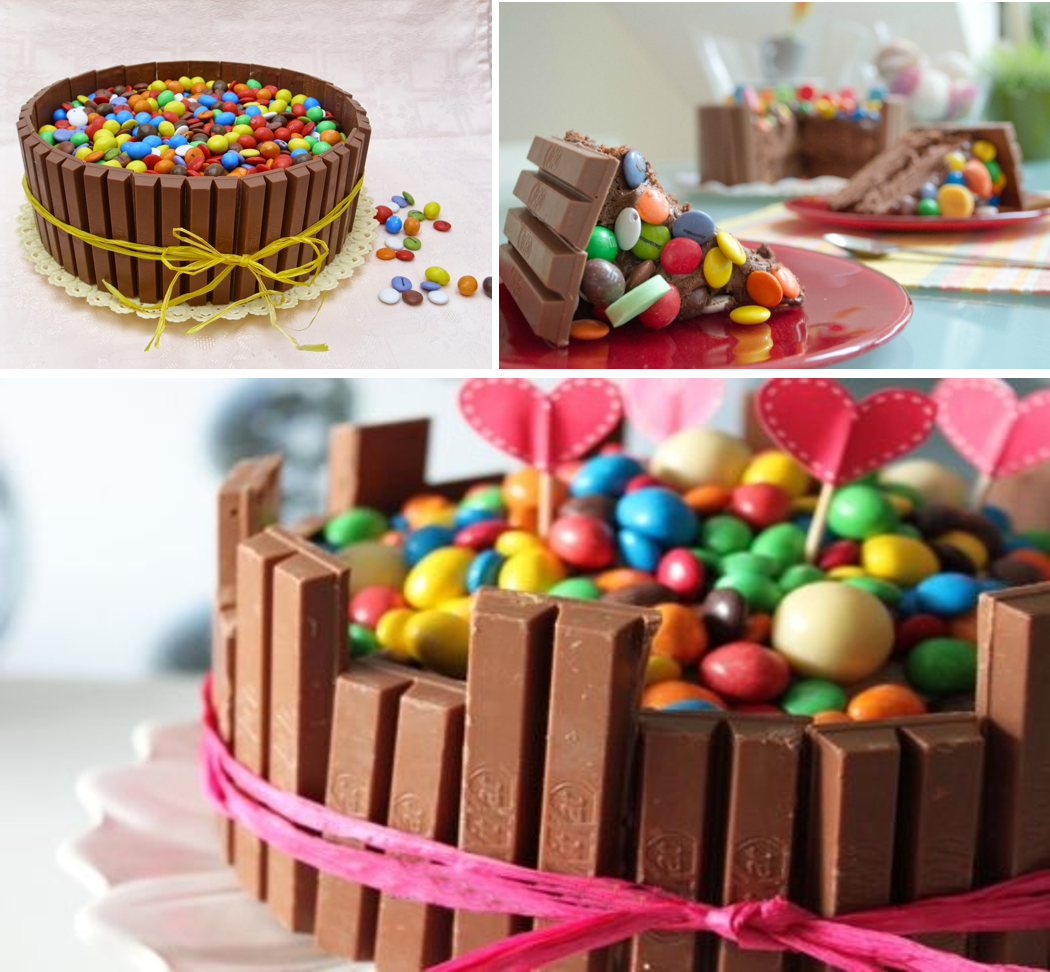 Tartas decoradas con kit kat y lacasitos
