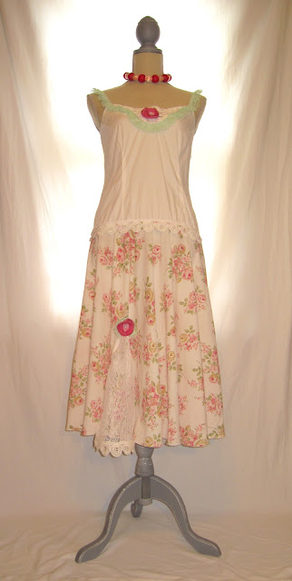 Shabby Chic Summer Lace and Rosette Embellished Cotton Strap Dress Nightgown