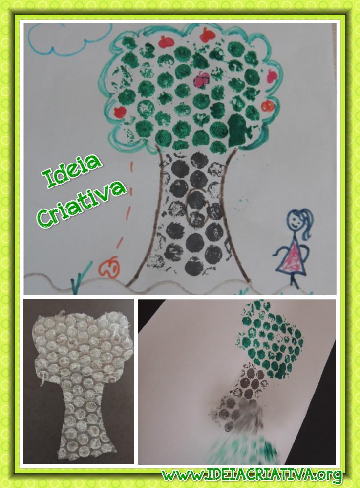 Técnica de Pintura Plástico Bolha Meio Ambiente Dia da Árvore