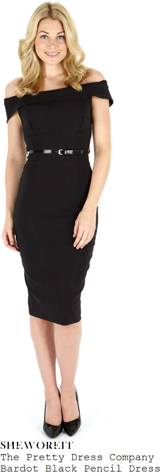 catherine-tyldesley-black-off-shoulder-tailored-pencil-midi-dress-bingo