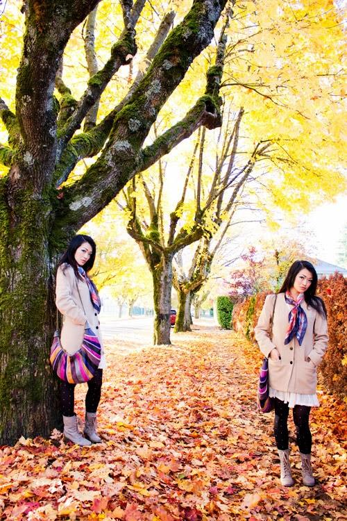 Jasmine Zhu vancouver fashion blogger wearing vintage camel coat and cathering malandrino purse
