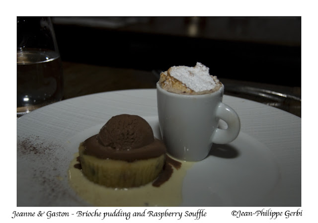 Image of Brioche pudding and raspberry souffle at Jeanne et Gaston in NY, New York