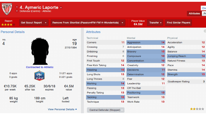 FM14 Aymeric Laporte Athletic
