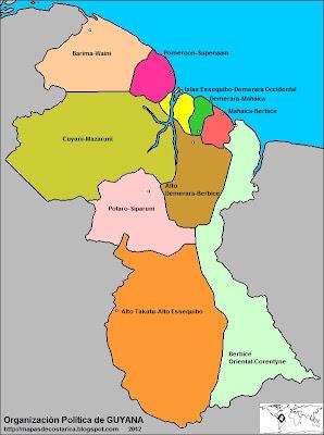 apa de la organización política de GUYANA, nombre de las regiones