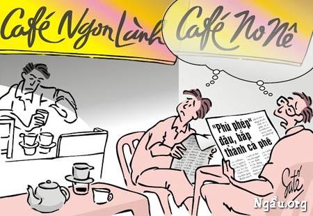 Biếm họa cafe được chế biến từ đậu, bắp