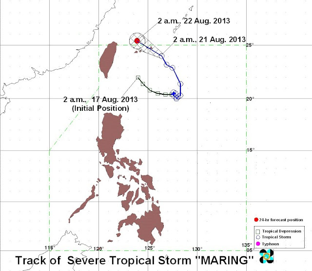 Track of bagyong maring august 21, 2013
