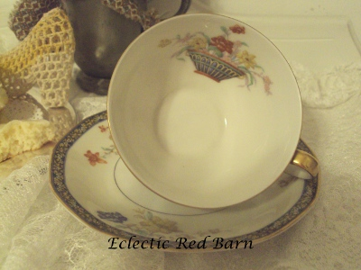 Eclectic Red Barn: Thedore Haviland Tea Cup Inside Basket