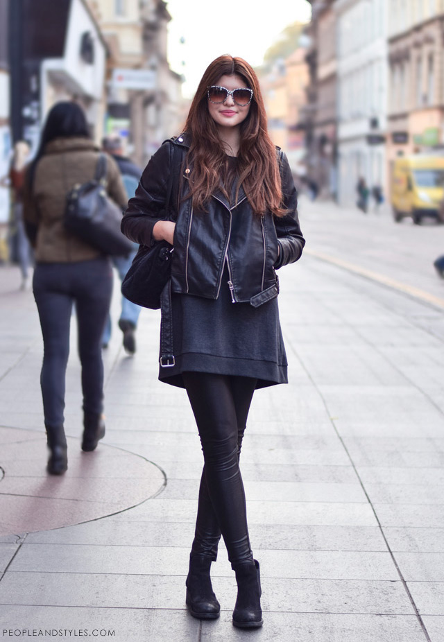 Dunja Ercegović, kantautorica - poznatija kao Lovely Quinces, stajlinzi s bajkerskom jaknom