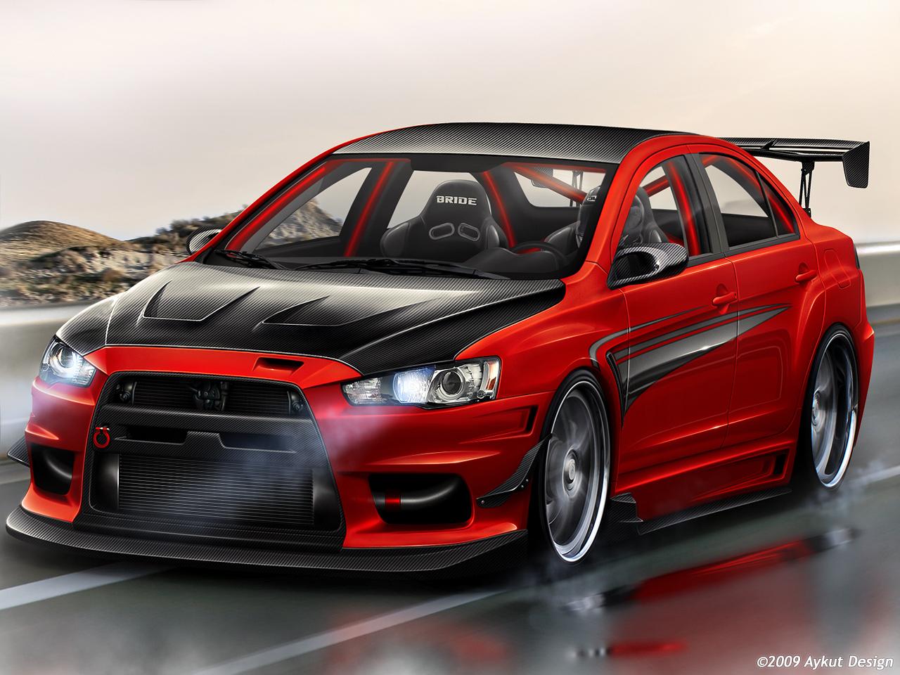 modified cars mitsubishi evo x custom body kit - Mitsubishi Lancer Evolution Custom