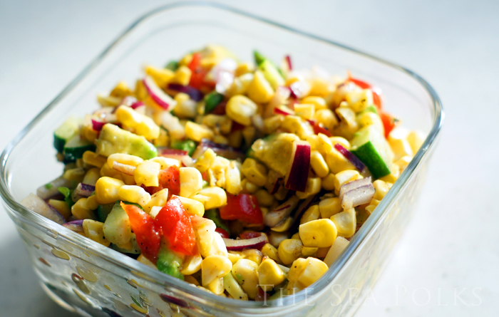 The Sea Polks: Warm Oven Roasted Corn Salad