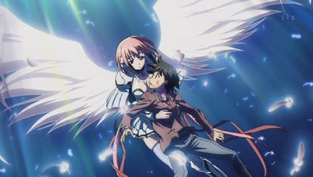 Tomoki siendo salvado por Ikaros