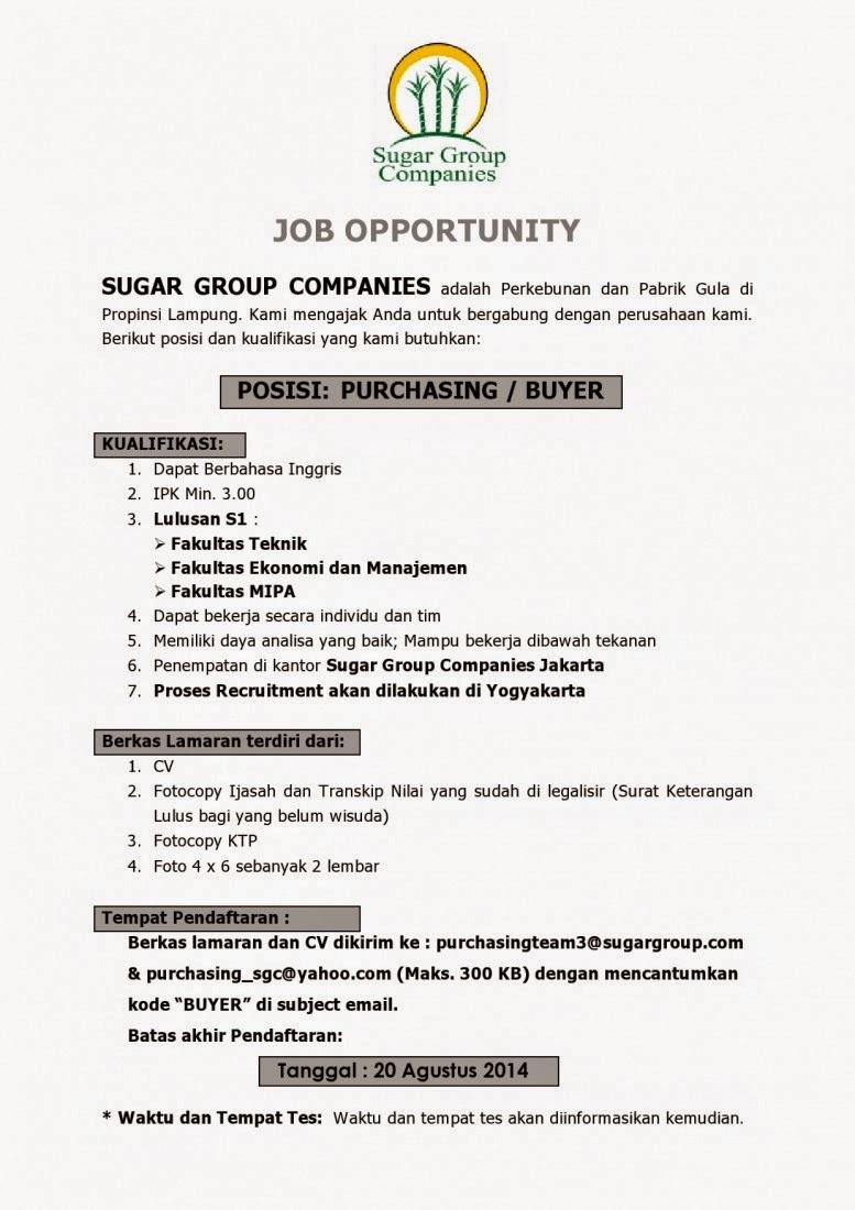 Info Lowongan Kerja SUGAR GROUP COMPANIES Agustus 2014