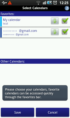 Android Calendar - Select Calendars