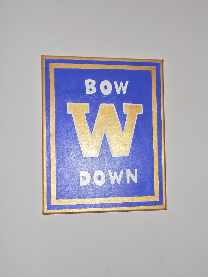 Bow Down University of Washington Huskies painted canvas art
