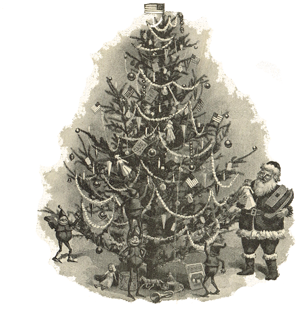 Royalty Free Antique Christmas Tree Illustration via Knick of Time