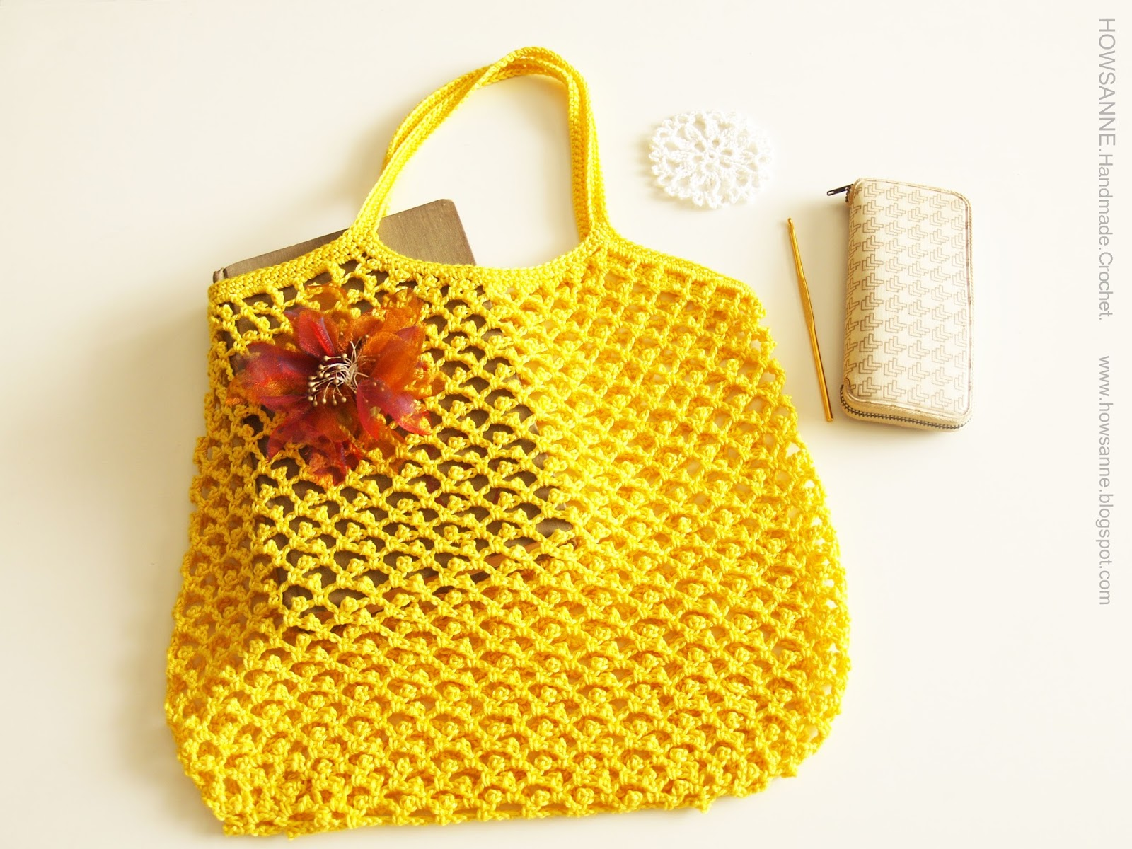 Easy Crochet Mesh Bag Pattern : Howsanne Handmade Crochet : Crochet Shopping Mesh Bag and ...