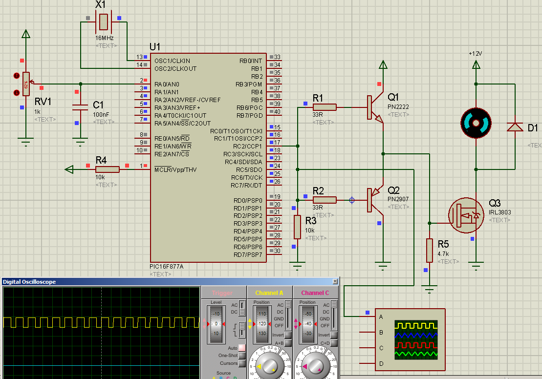 Tahmids Blog Dc Motor Control With Pic16f877a Practical Example Controller By Sg3525 Q1 And Q2 Form A Totem Pole Driver To Drive The Logic Level Mosfet Irl3803 Power Can Not Be Fully Turned On At Voltage Of 5v Requires