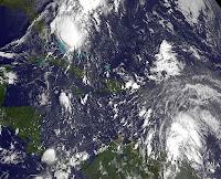 Atlantische Hurrikansaison aktuell: Pot. Tropische Stürme PATTY und Rafael, Patty, Rafael, Satellitenbild Satellitenbilder, aktuell, Oktober, 2012, Hurrikansaison 2012, Atlantische Hurrikansaison, Karibik, Bahamas, Kleine Antillen,