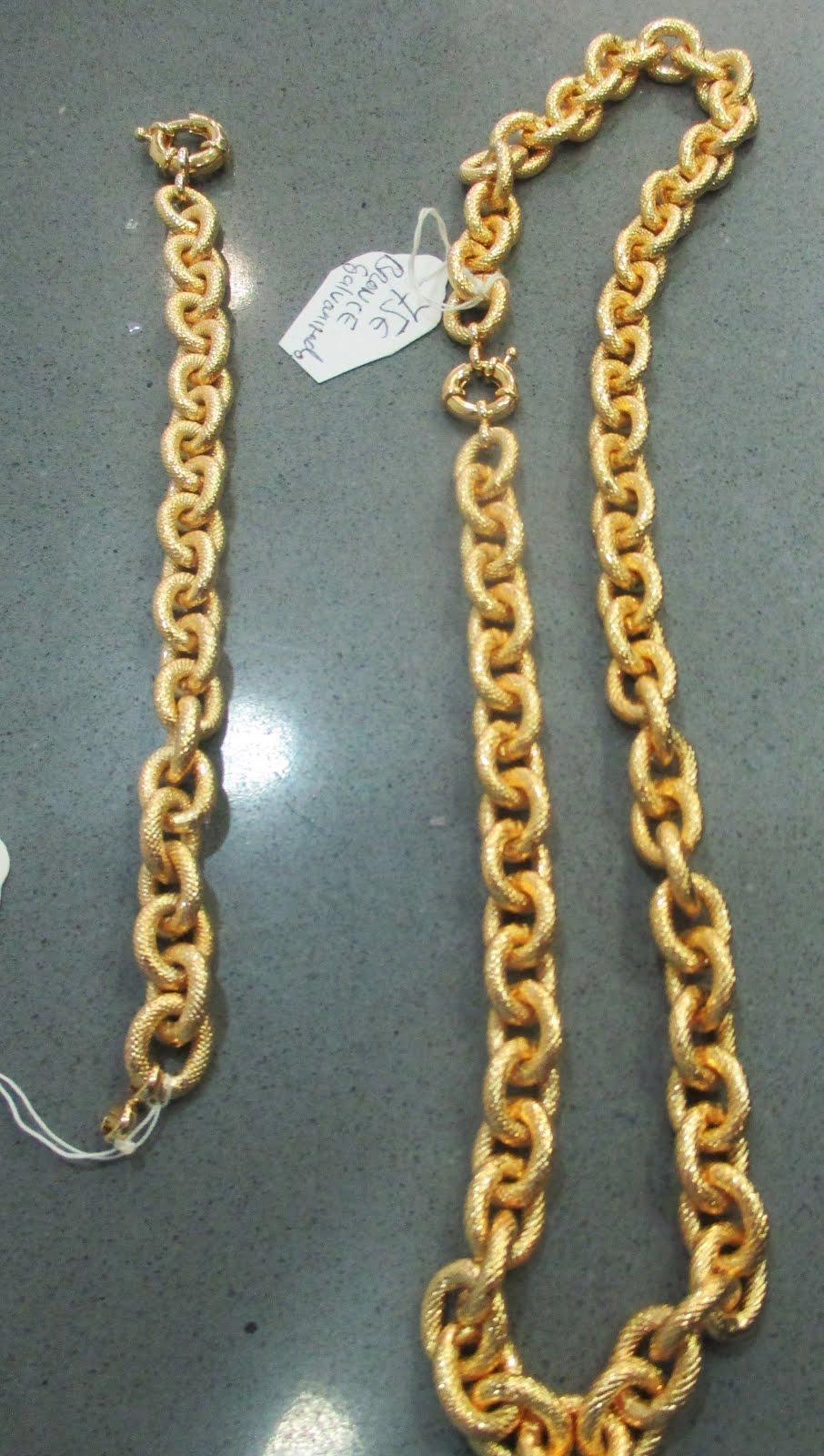Collar y pulsera bronce galvanizado