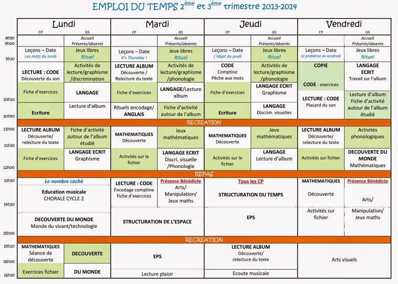 foto de Classe GS CP Créances 2013 2014: Emploi du temps