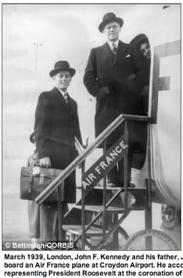 JFK  and his father Joe Kennedy, leaving London, March 1939