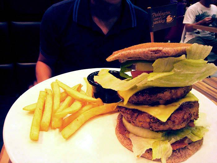 pancake double decker chicken burger