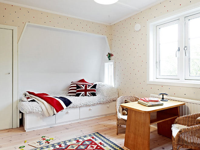 casa de campo diseño interior rustico actual -dormitorio cama cajones