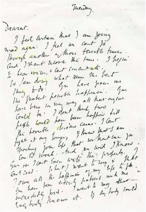 Noticias CHFG: La nota de suicidio escrita a mano de Virginia ...