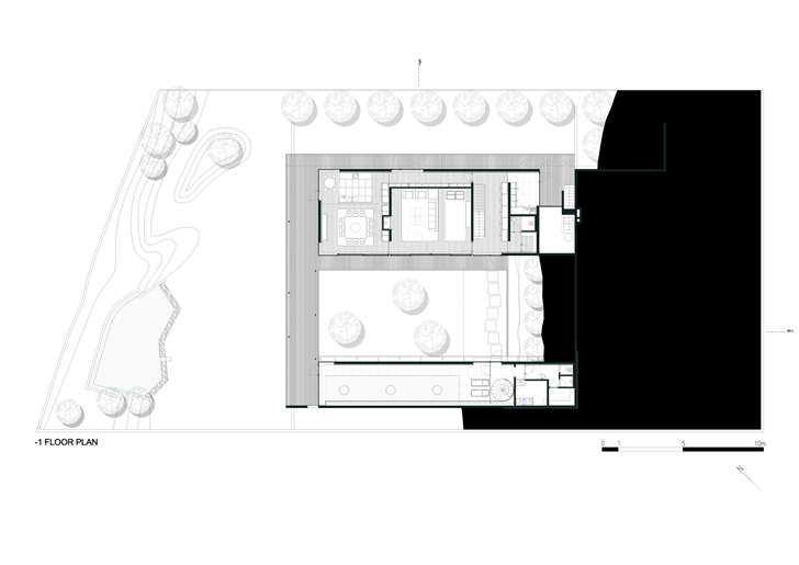 First floor plan of Black Concrete House by Pitagoras Arquitectos