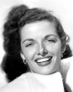 Vintage black and white photo of Jane Russell.