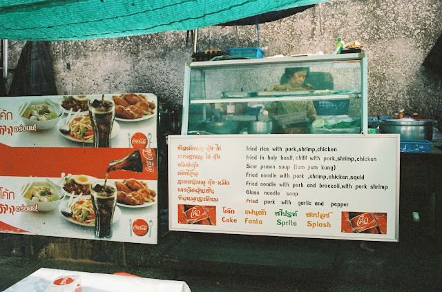 Color film Photography Bangkok of outdoor cafe