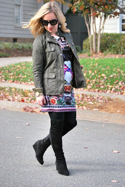 over-the-knee boots, SheInside dress, how to style a graphic dress