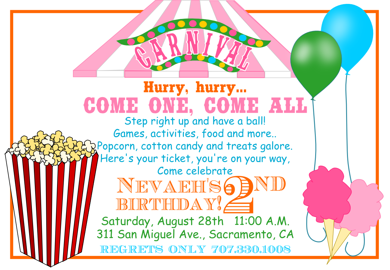 Carnival Birthday Invitations Template