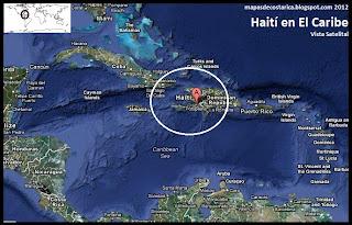 Mapa de Haití en El Caribe, Vista Satelital