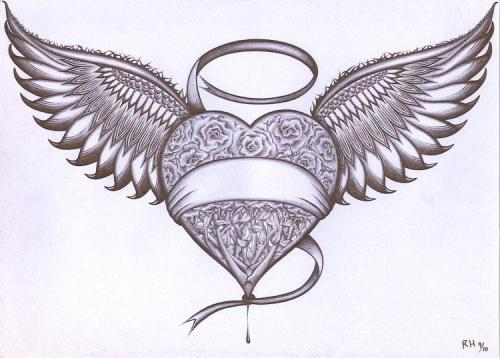 Love heart drawings with wings quotes lol rofl com