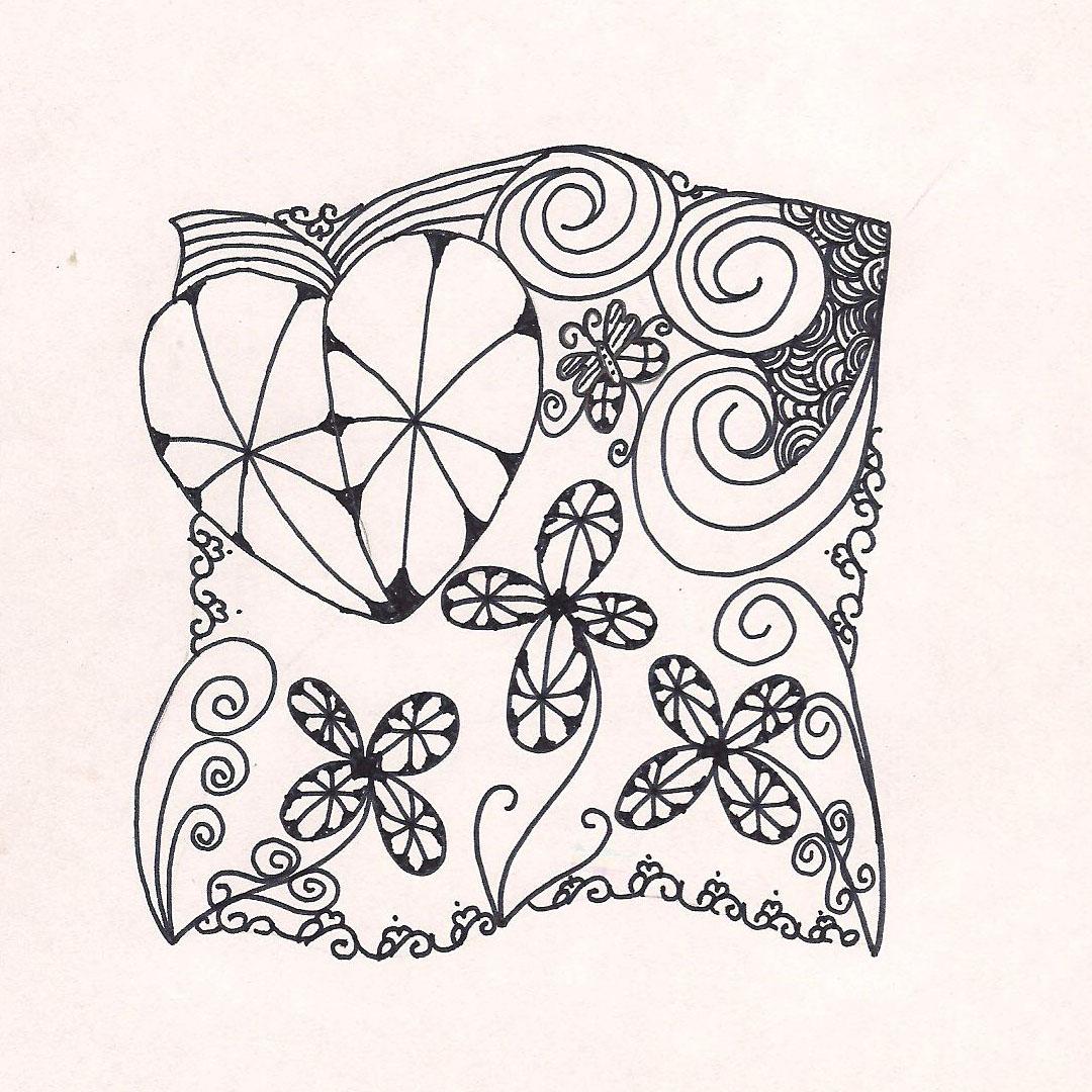 Knitting II Heart & Flower Zentangle