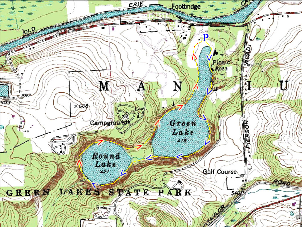 Harriman hiker harriman state park and beyond green lakes state park map of the route sciox Gallery