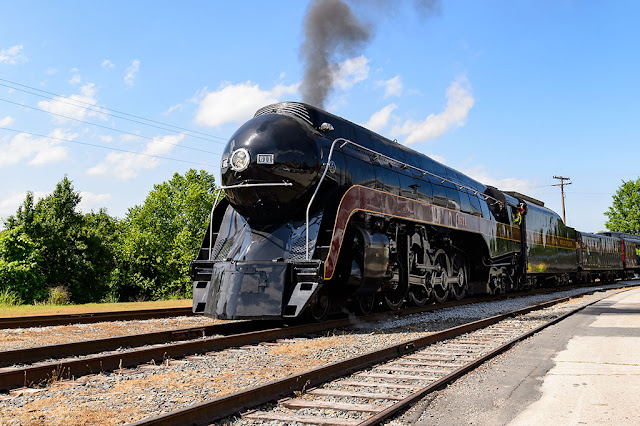 N&W Class J 611 passes by the NC Transportation Museum