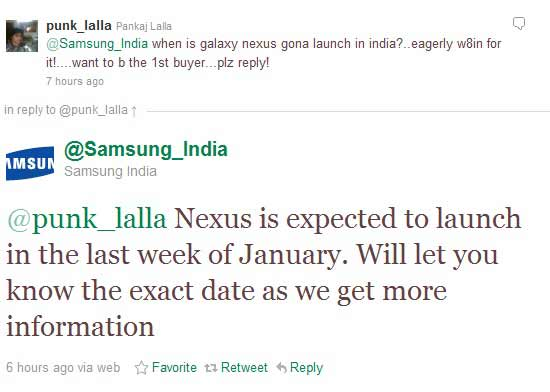 when will samsung release galaxy nexus in india