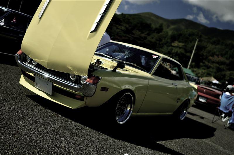 dawne samochody, sportowe, klasyczne, Toyota Celica, classic car, yellow, żółty, przód