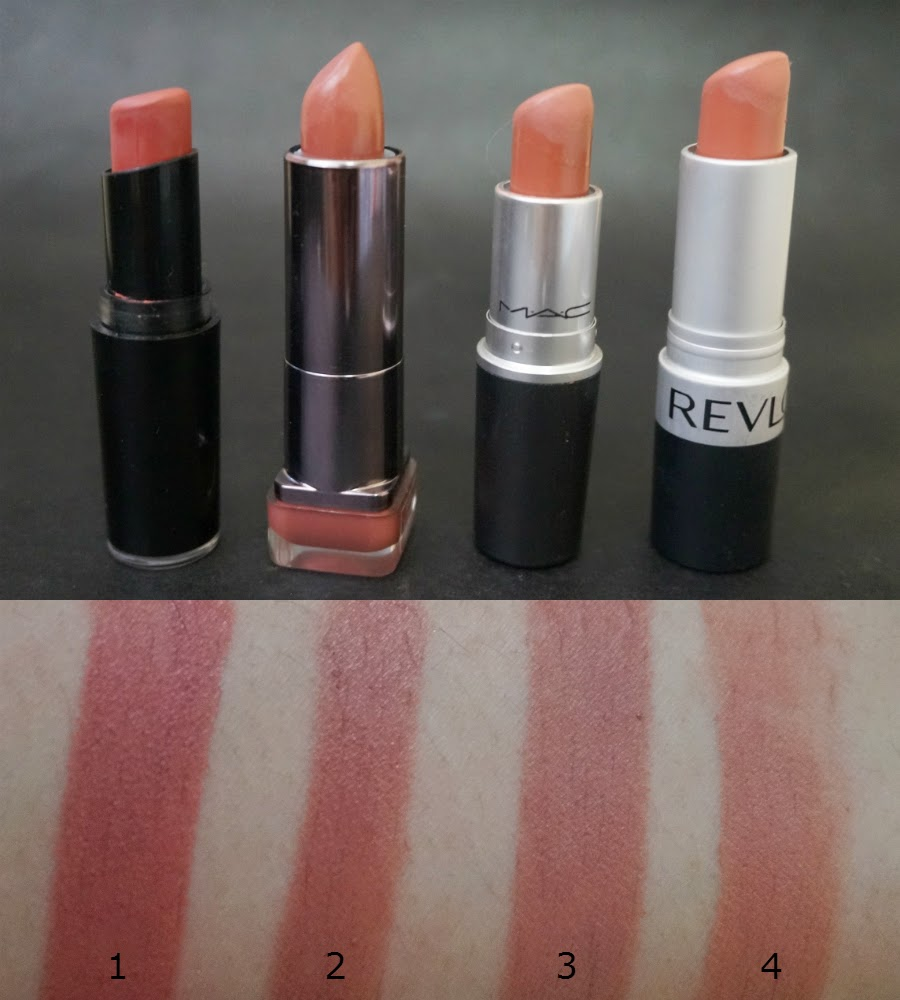 (1) Wet n Wild In The Flesh, (2) Cover Girl Lip Perfection in Rush, (3) MAC Velvet Teddy, (4) Revlon Mauve It Over