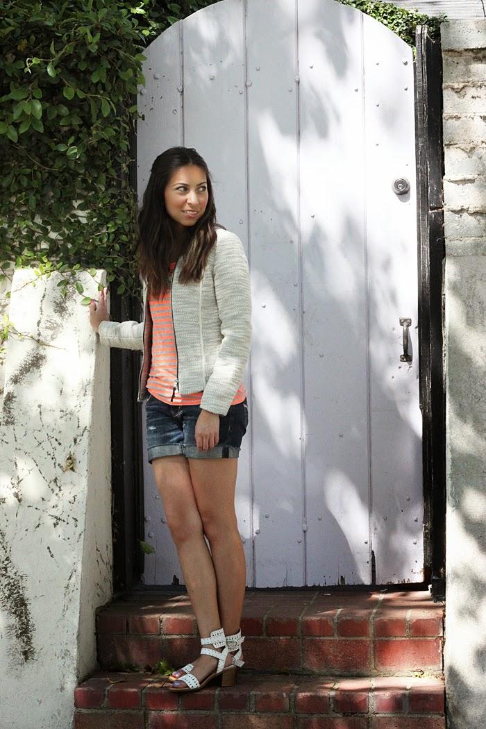 tweed blazer, stripe tshirt, distressed shorts